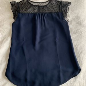 J.Crew Navy and Black Capped Sleeve Top